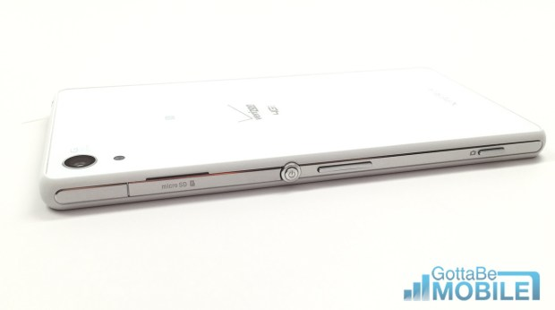 Buttons and a glass back are key parts of the Sony Xperia Z3v design.