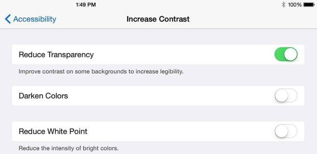 Turn off transparency to speed up an old iPad on iOS 8.