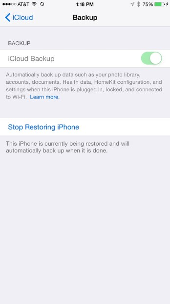 Choose to stop restoring the iPhone.Choose to stop restoring the iPhone.