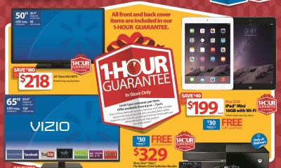 The Walmart Black Friday 2014 ad reveals the new 1 Hour Guarantee items including an iPad mini and Xbox One with Halo: The Master Chief Collection.