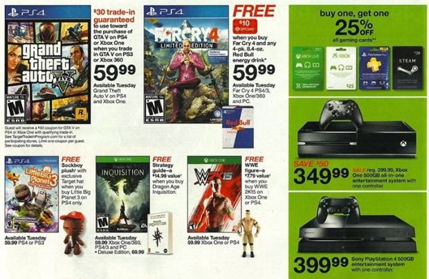A leaked Target ad shows a big Xbox One and PS4 GTA 5 deal.
