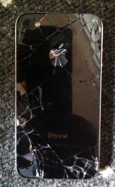 busted iphone 4 back