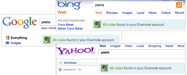 chrome-evernote search