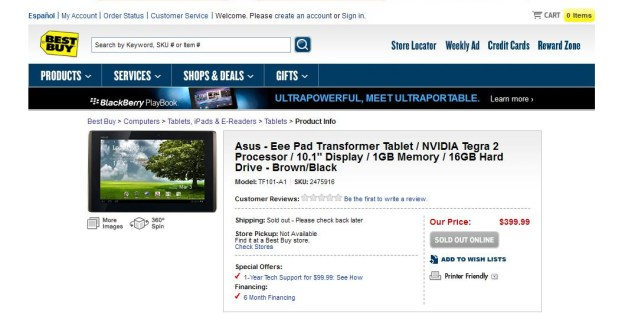 ASUS Eee Pad Transformer at Best Buy