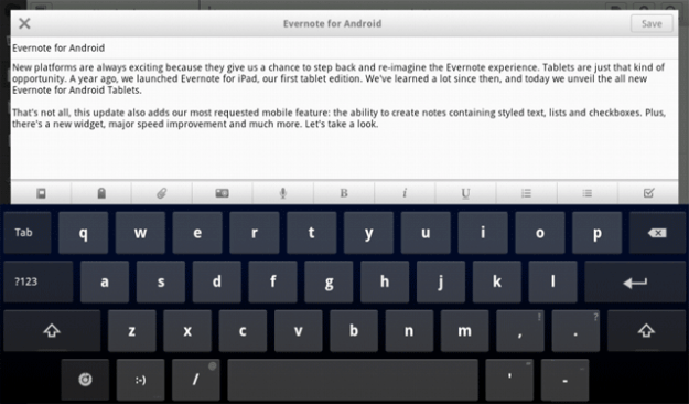 evernote android tablet on screen keyboard toolbar