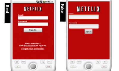 Real Netflix app and Fake Netflix app