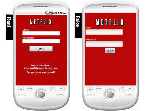 Real Netflix app and Fake Netflix app