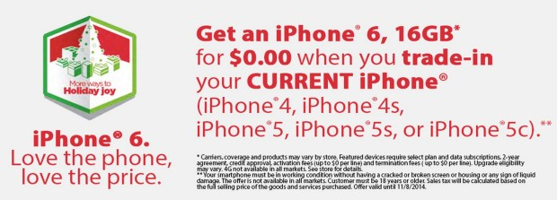 You can still get a free iPhone 6 deal from Walmart with a trade.