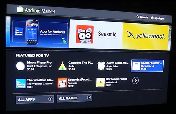 Google TV Honeycomb Beta Android Market