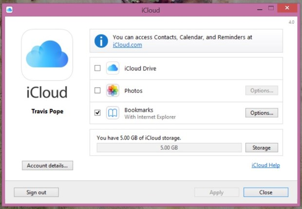 Install the iCloud Control Panel to use iCloud Drive on Windows.