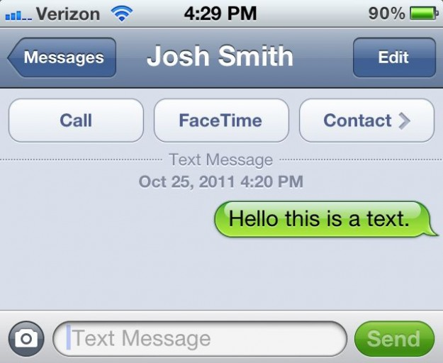 Text message on iOS 5 iPhone 4S