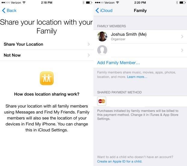 Share purchases with family members in iOS 8.