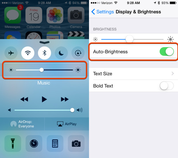 Control brightness on your own for better iOS 8.1 battery life.