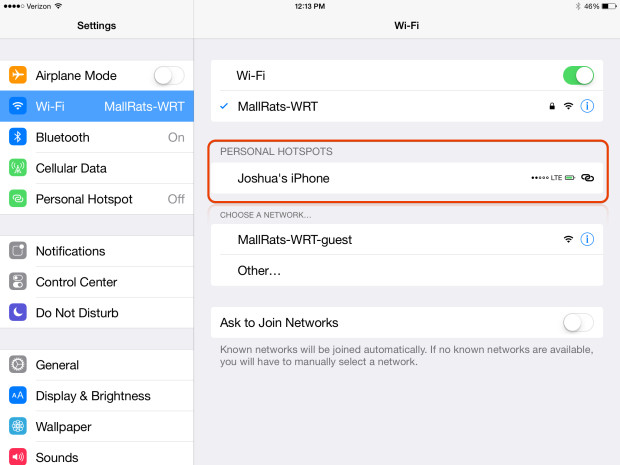 Use the iPhone 6 Instant Hotspot to connect faster.