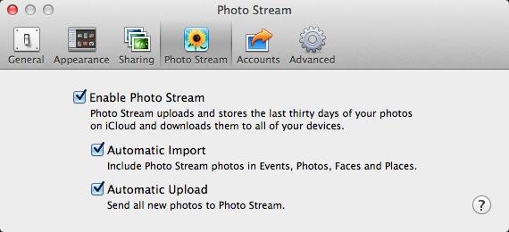 IPhoto Photo Stream Settings