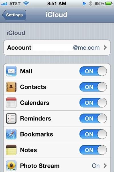 iCloud Settings in iOS 5