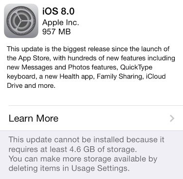 Upgrade to iOS 8.1 even when you see the not enough storage error.