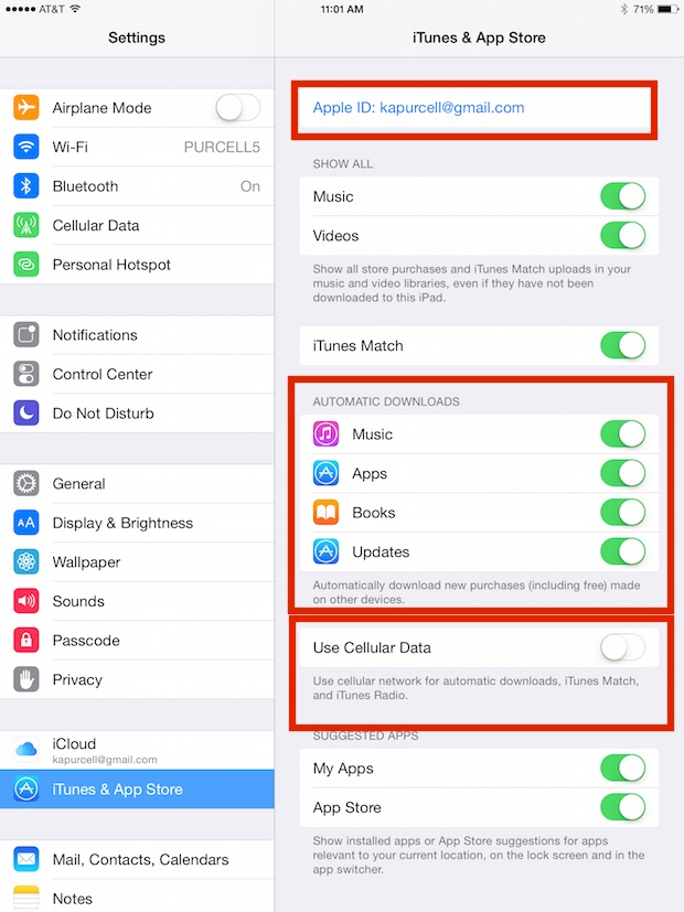 itunes and app stores settings on ios 8