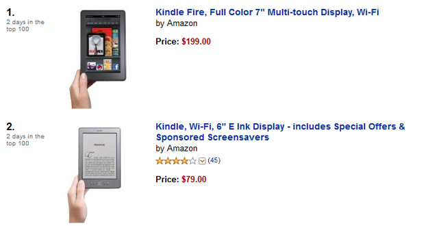 Kindle Fire on top at Amazon