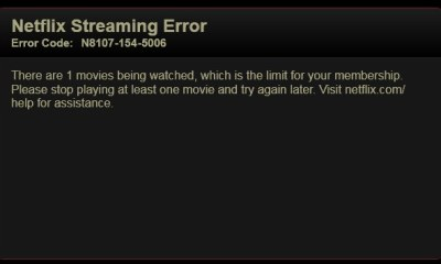 The erroneous error message some Netflix users saw over the weekend.