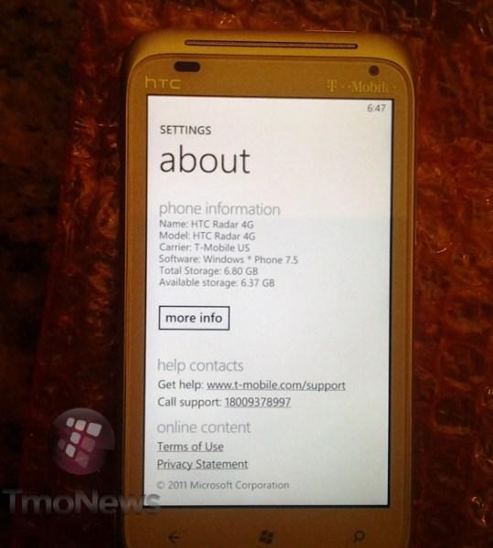 T-Mobile HTC Radar 4G