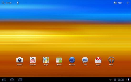 Samsung Galaxy Tab 10.1 Home screen before TouchWiz