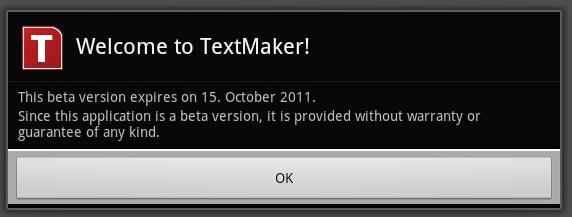 TextMaker for Android still in beta