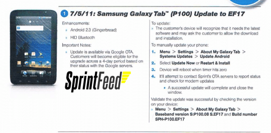 Sprint Galaxy Tab
