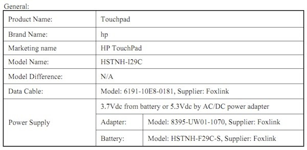 HP TouchPad FCC Filing