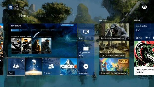 xbox one with transparent live tiles
