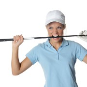 Image of angry woman golfer.