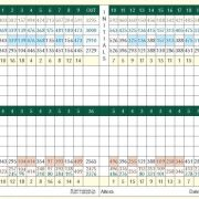 Image of a scorecard with different sets of tees
