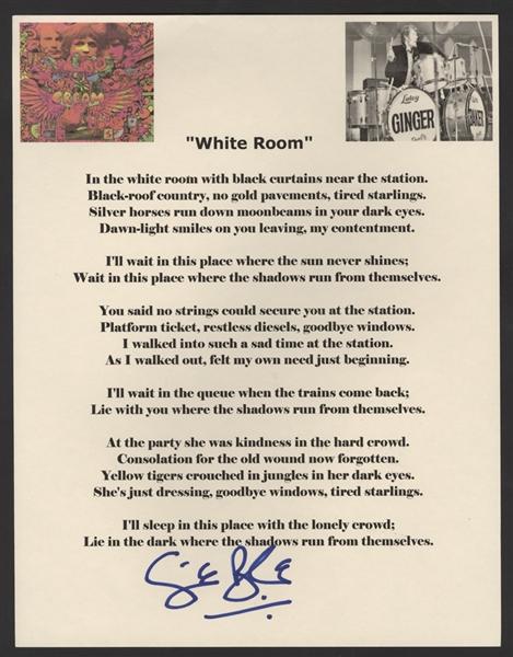 Lot Detail  Ginger Baker Signed Cream White Room Lyrics
