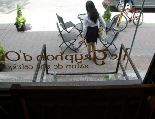 Girl outside tea room window