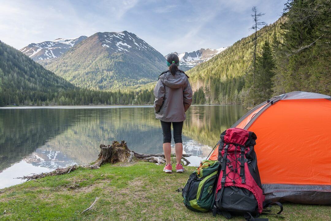 Female camping