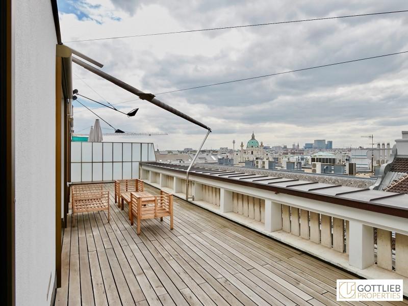 Superbe LoftPenthouseTerrassenWohnung OHNE Schrgen mit drei Schlafzimmern nahe Staatsoper