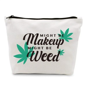 Funny Marijuana Weed Leaf Makeup Cosmetic Bag Cotton Zipper Pouch