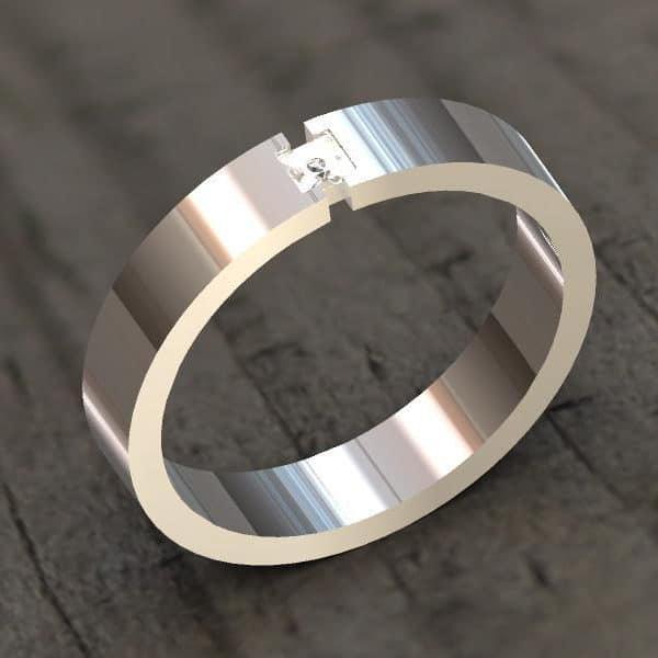 Witgouden ring met princess geslepen diamant
