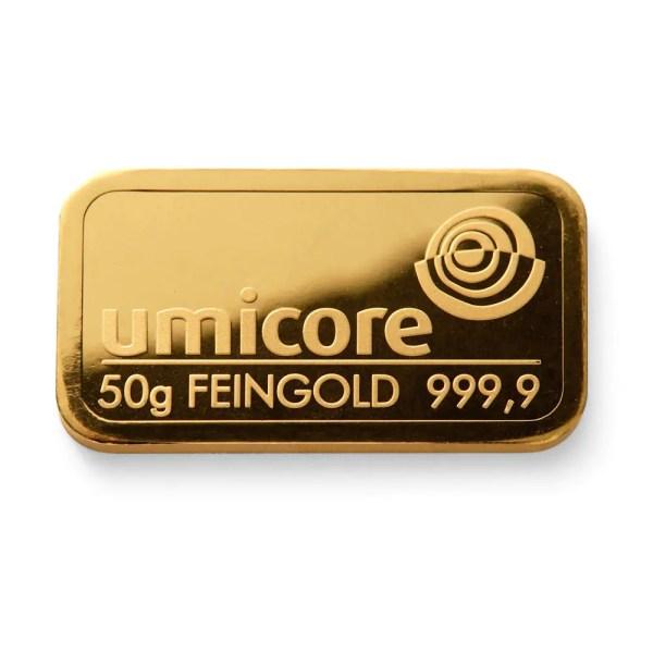 Umicore 50 gram goudbaar