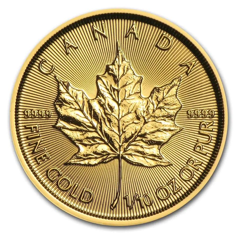 Maple Leaf 1/10 troy ounce gouden munt 2016