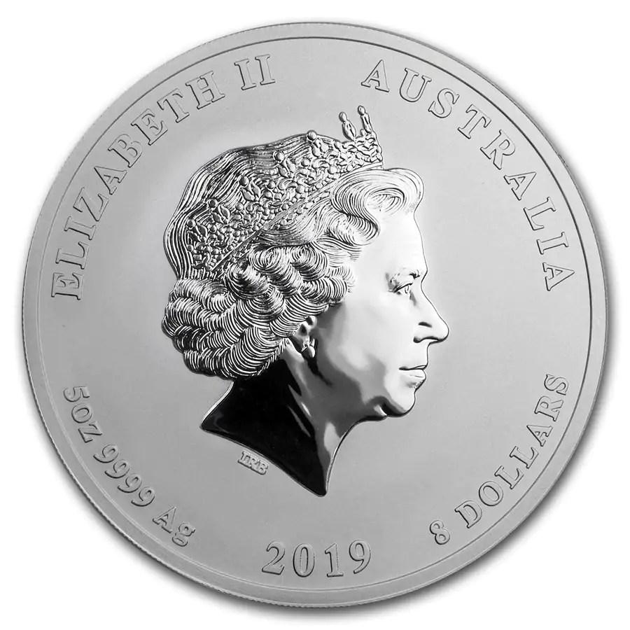 Lunar Pig 5 troy ounce zilveren munt 2019