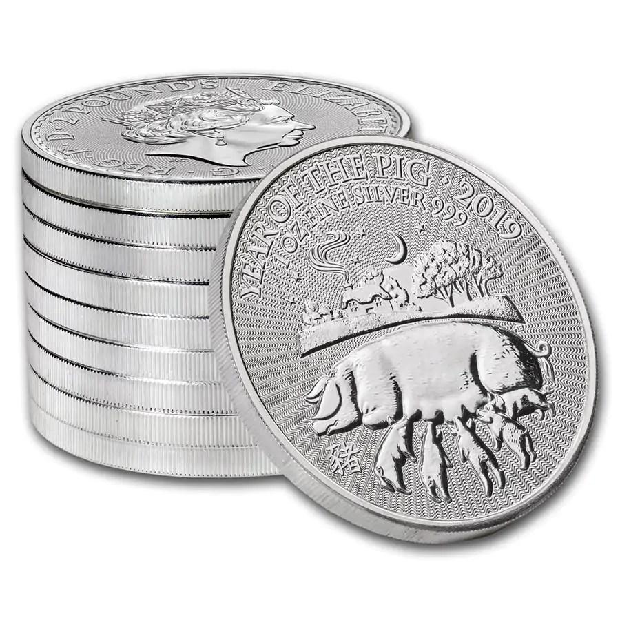Lunar UK Year of the Pig 1 troy ounce zilveren munt 2019