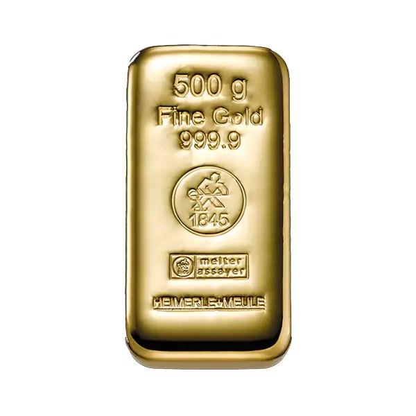 Heimerle + Meule 500 gram gegoten goudbaar