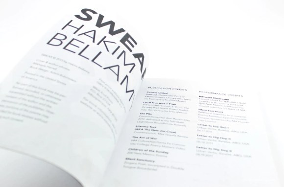 SWEAR, poems by Hakim Bellamy: Credits page