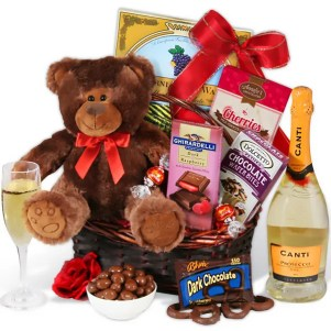 Champagne and Teddy Bear Gift Basket