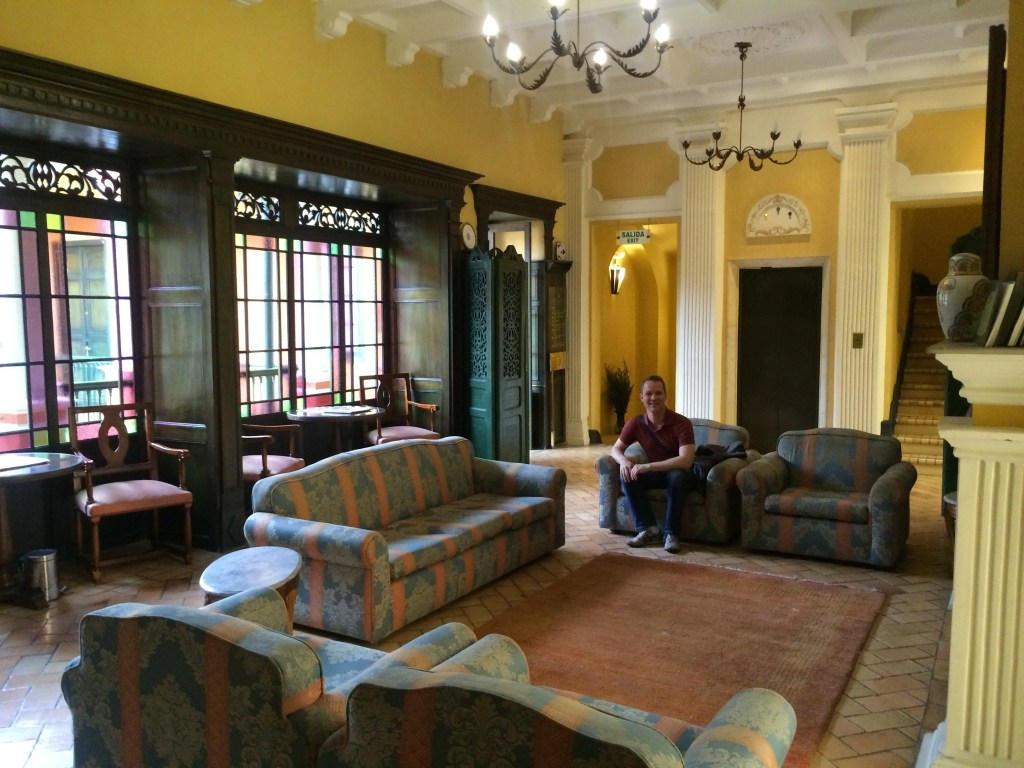 Kevin enjoys the common area in the Hotel De Opera, first class if you have to stay in Candeleria