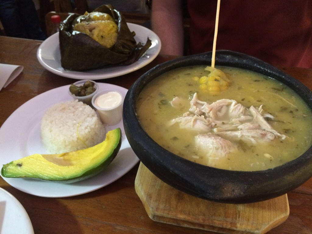 Breakfast at Puerto Falsa and enjoying the typical Colombian food (this is the Ajiacao, a must order)