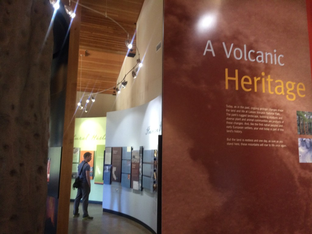 Kevin reads all about the volcanoes in the visitor center
