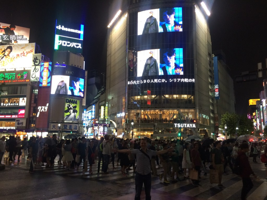 The infamous Shibuya Pedestrian Crossing - a must at night time