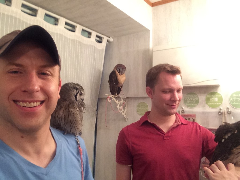 We are one with the owls at the owl cafe